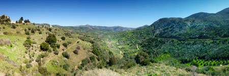 Panoramic view of landscape and mountain Crete Greece
