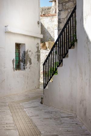 Staircase in cobblestoned city street Crete Greece Europe