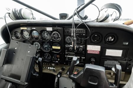 Old Airplane cockpit Фото со стока