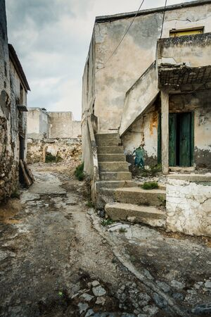Old abandoned residential buildings, Crete, Greece