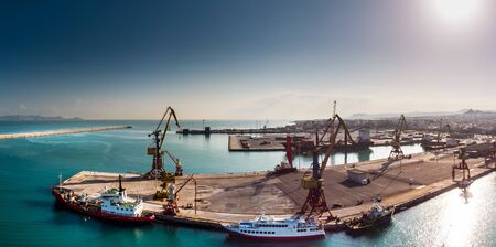 Cranes line the waterfront at port of Heraklion, Crete, Greece