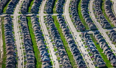 Aerial view of suburban houses, Canada