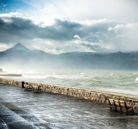 Seascape and mountain against cloudy sky, Heraklion, Crete, Greece
