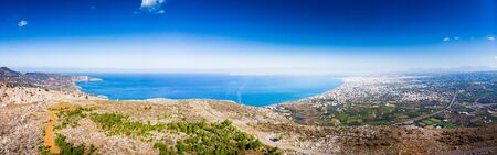Aerial view of mountain and Mediterranean sea, Heraklion, Greece