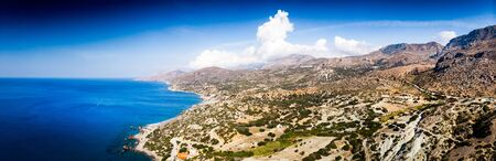 Aerial view of island with agricultural field on mountain, Crete, Greece Reklamní fotografie