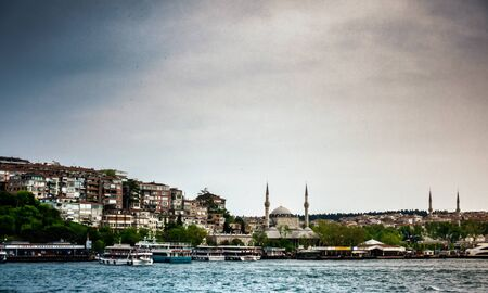 Old town and Suleymaniye Mosque with ferry on sea, Istanbul Stock fotó