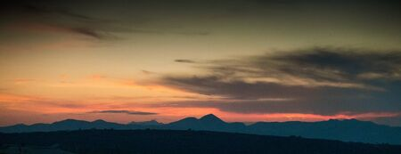 Panoramic silhouette of Greek mountain landscape, Greece
