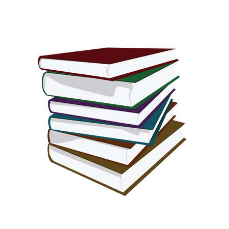 Vector illustration of a pile of hardcover books