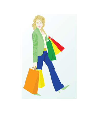 Vector illustration of woman shopping, carrying bags