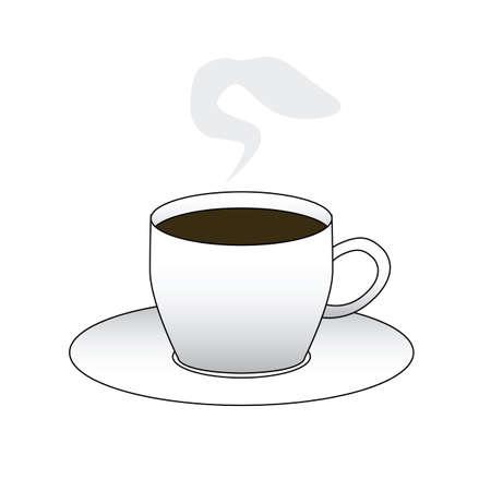 Vector illustratie van een kopje koffie met gestoomd Stock Illustratie