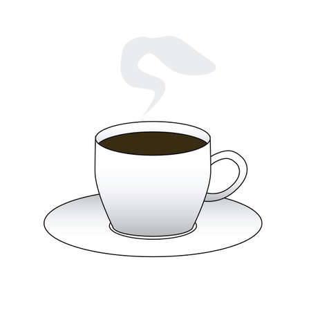 Vector illustration of a cup with steaming coffee