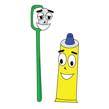 幸いにもその笑顔を披露してそのバディ歯ブラシと歯磨き粉を示す漫画のベクトル イラスト