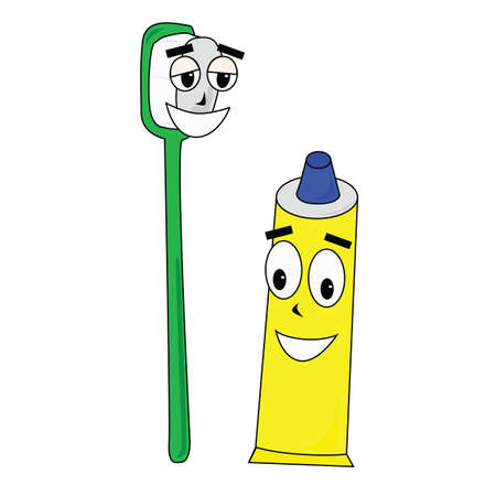 Vector illustration of cartoon showing a toothpaste with its buddy toothbrush, happily showing off their smiles Illusztráció
