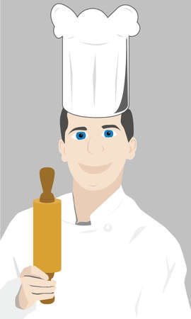 Vector illustration of a kitchen chef holding a rolling pin