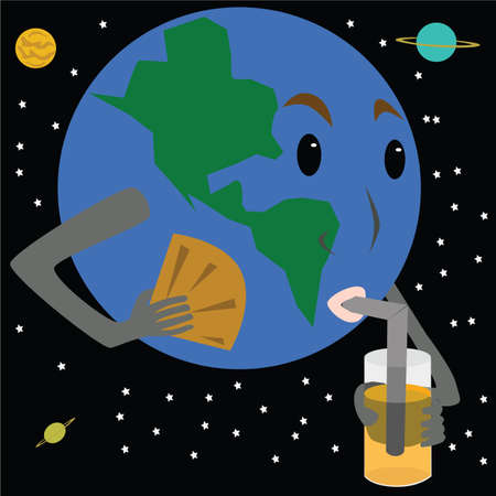 cool down: Vector illustration of Earth needing a fan and a drink to cool down from being too warm.