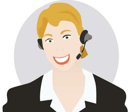 standardiste: Vector illustration d'une jeune femme parlant sur un casque. Cercle sur l'arri�re-plan se trouve sur un calque diff�rent, le rendant facile de l'enlever si n�cessaire.