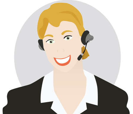 communicative: Vector illustration of a young woman talking on a headset. Circle on the background is on a different layer, making it easy to remove it if necessary. Illustration