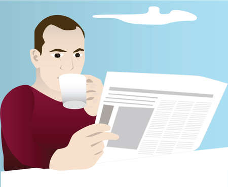 coffee: Vector illustration of a man reading a newspaper and drinking coffee