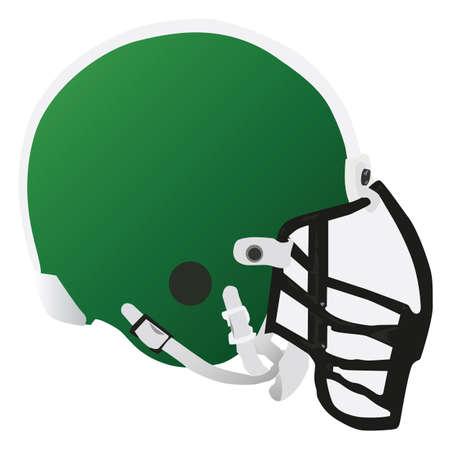 football tackle: Vector illustration of a green football helmet Illustration
