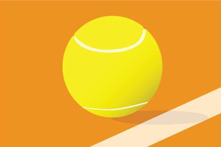 粘土裁判所で跳ねるテニス ボールのクローズ アップ