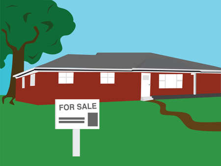 Vector illustration of a bungalow house for sale