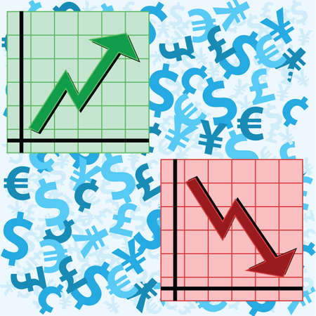 Vector illustration showing two graphs, one showing an upward movement and another a downward movement, over a background of currency symbols. Vector