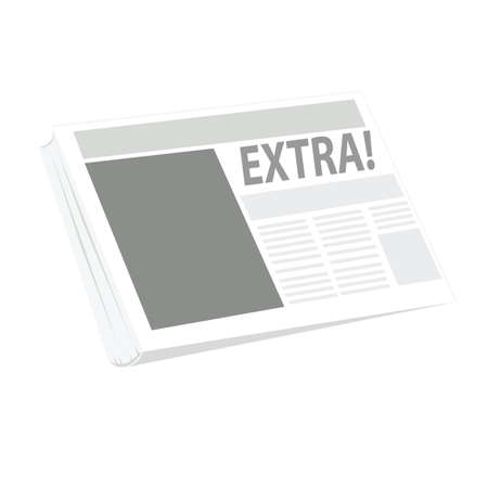 Vector illustration of a newspaper, with the word EXTRA as the main headline on the front page.