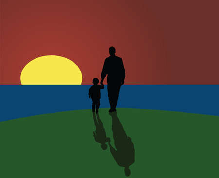 Vector illustration of a father and a son looking to the horizon as the sun sets. Иллюстрация
