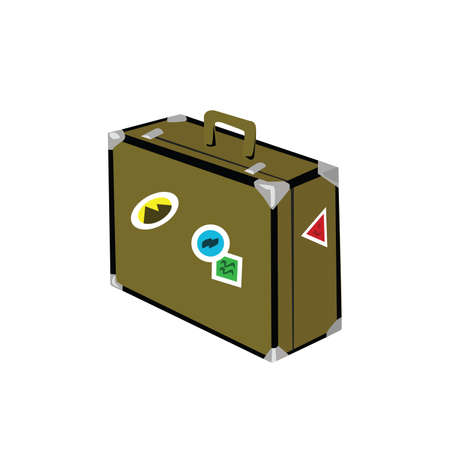 Illustration of an isolated old style suitcase, with stickers on it Illustration