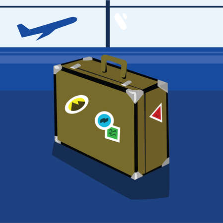 Illustration of an old style suitcase standing in an airport lobby