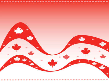 Vector illustration celebrating Canada, with the maple leaf repeated in different sizes and shades.