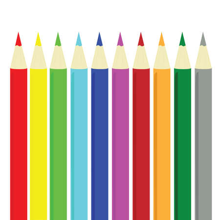 Illustration of different color pencils Stock Illustratie