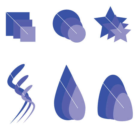 Vector illustration set of logos in different shades of blue Vector