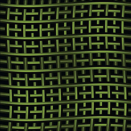 intertwined: Abstract background illustration of several green metal bars intertwined as a net