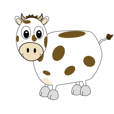 Cartoon illustration of spotted cow smiling