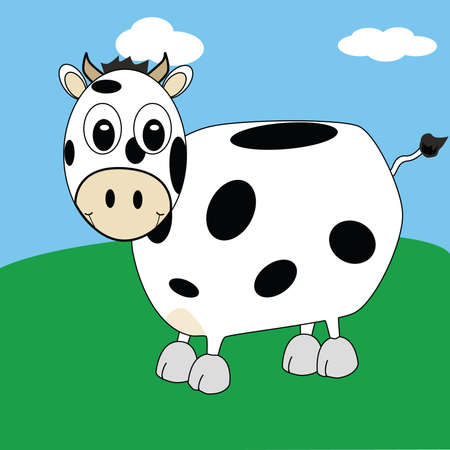 Cartoon illustration of spotted cow smiling on a field Illustration