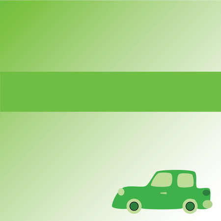 Illustration layout of page with green car ecological theme with copy space for headline and text. Stock Illustratie