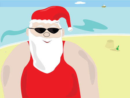 Illustration of Santa Claus on a beach, relaxing before heading back to the North Pole to make presents for Christmas. Vector