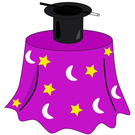 hat trick: Cartoon illustrazione di un tavolo decorato mago Vettoriali