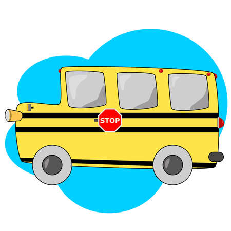Cartoon illustration of a typical North American yellow school bus
