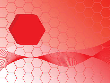 Abstract illustration background of red hexagons Ilustração