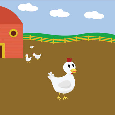 Cartoon illustration of cute group of chickens on a farm 矢量图像
