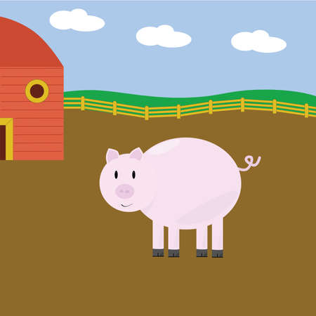 Cartoon illustration of cute pink pig on a farm Stock Vector - 3453814