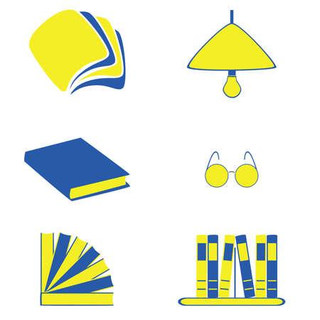 Illustratie set logo en pictogrammen met het lezen van thema