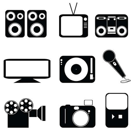 hdtv: Icon set of different types of media Illustration