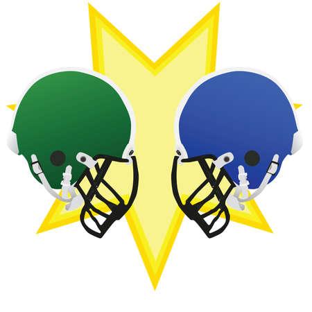 ゲームの戦いを象徴する、お互いに直面して 2 つのフットボール用ヘルメット