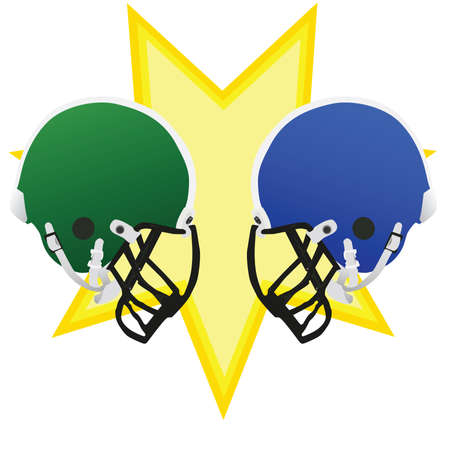 Two football helmets facing each other, symbolizing the battle of the game