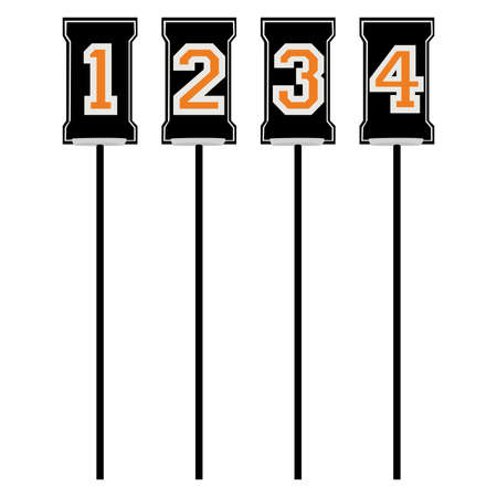 Set of markers for American football for first, second, third and fourth downs