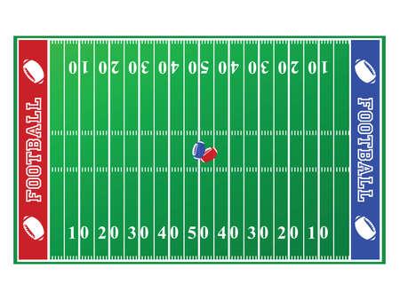 終了ゾーンが赤と青のサッカー フィールドのイラスト