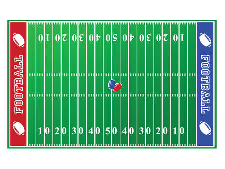 Illustration of a football field, with red and blue end zones